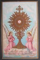 IMAGE PIEUSE (chromo Bouasse) REGNEZ O SEIGNEUR JESUS ... OSTENSOIR AVEC 2 ANGES /  HOLY CARD SANTINO - Andachtsbilder