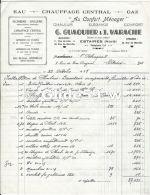 Facture - G. GUAQUIER & J. VARACHE - Au Confort Ménager - Eau - Chauffage Central - Gaz - Estaires Le 23 Oct. 1958 ( - France