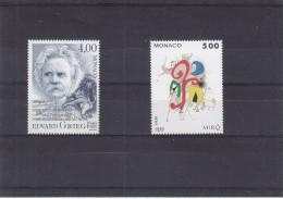 Monaco - Yvert  1908 / 09 ** - MNH - Musique - E. Grieg - Peinture - Sculpture - Juan Miro - Monaco
