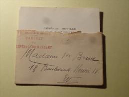 Cachet 16eme Corps D'Armee Cabinet Du General Commandant  Deville 1922 - Marcophilie (Lettres)