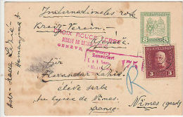 Belgrade: Red Cross Serbia Postcard, Belgrade To Nimes, France, Censored, C.1918 - Serbia