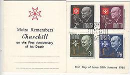 Malta: Malta Remembers Churchill Presentation Card, 24 January 1966 - Malta (...-1964)