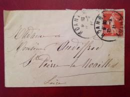 Lettre ROANNE Pour St SAINT PIERRE DE NOAILLES Fermée Par Vignette Croix Rouge Union Des Femmes De France - Marcophilie (Lettres)