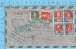 Aerogramme ( Argentine Argentina 1935, Cover  Cachet Buenos Aires To USA, Many Post Mark Marcophilie ) 2 Scans - Argentine
