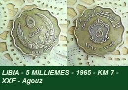 LIBIA - 5 MILLIEMES - 1965 - KM 7 - XXF - Agouz - Libyen