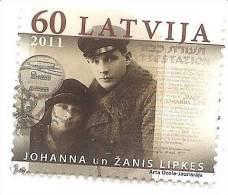 2011 Latvia Mi.809 Johanna And Zanis Lipke Judaica Used  (0) - Lettland