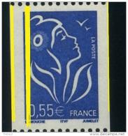 VARIÉTÉ LAMOUCHE ITVF 0.55€ Roulette N° Noir MAURY 3746c 3 Bdes De Phosphore - 1 Bande 3/4 à Gauche Et Un Filet à Droite - Varieties: 2000-09 Mint/hinged