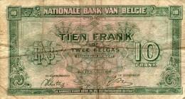 Dix Francs Ou Deux Belgas - 01.02.43  - HI 033926 - [ 2] 1831-... : Koninkrijk België