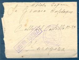 1939 , GUERRA CIVIL , DE CASTAÑAR DE IBOR A ZARAGOZA , CENSURA MILITAR , FRANQUICIA FALANGE , CENTURIA DE BURGOS - 1931-50 Brieven