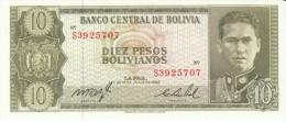 Bolivia #154 10 Pesos Bolivianos C1962 Banknote Currency Money - Bolivia