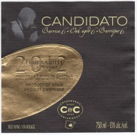 WINE LABEL - Candidato 2012, Product Of Barcelona Spain (WL101) - Red Wines