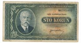 Czechoslovakia 100 Kr, 1945, F/ VF. Free Ship. To USA. - Tchécoslovaquie