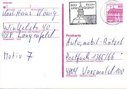 ALLEMAGNE. Carte Pré-timbrée Avec Oblitération De 1987. Oblitération : Monastère De Gräfrath. - Klöster