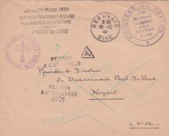 """Cachet """""""" ETAT FRANÇAIS PREFECTURE DE L'OISE """""""" Sur Lettre Franchise - TAXE POUR LE DESTINATAIRE - MINISTERE DU TRAVAIL - Postmark Collection (Covers)"""