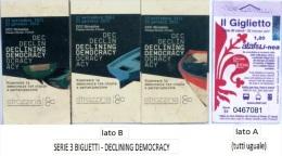"SERIE 3 BIGLIETTI BUS USATI ""DECLINING DEMOCRACY"" FIRENZE ATAF - Bus"