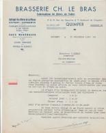 Lettre 10/12/1947 Brasserie Ch LE BRAS Bière De La Meuse, De Table, Conserve,  QUIMPER Finistère - France