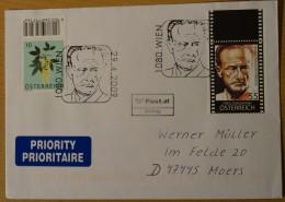 Austria Cvr 2009-04-29 Cover With Fred Zinnemann Actor Film Stamp And Wien Postmark Cinema A 3,50 Euro - 2001-10 Storia Postale