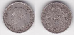 20 CENTIMES NAPOLEON III TETE NUE 1854 A (voir Scan) - France