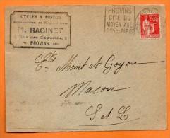 PROVINS  CITE DU MOYEN AGE     1933 Devant De Lettre  N° N 161 - Oblitérations Mécaniques (flammes)