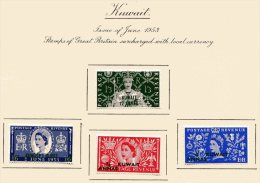 "Kuwait   Y&T  110 - 113   X  MVLH    ---    1953  --  Coronation Queen Elisaberh II""  --  See Scan Comments - Koweït"