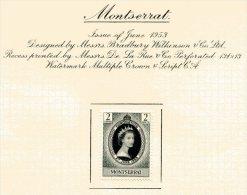 """Montserrat  Y&T  129   X  MVLH    ---    1953  --  Coronation Queen Elisaberh II""""  --  See Scan Comments - Montserrat"""