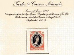 "Turks & Caicos   Y&T  160  X  MVLH    ---    1953  --  Coronation Queen Elisaberh II""  --  See Scan Comments - Turks & Caicos (I. Turques Et Caïques)"