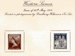 "Western Samoa   Y&T  159 - 160  X  MVLH    ---    1953  --  Coronation Queen Elisaberh II""  --  See Scan Comments - Samoa"