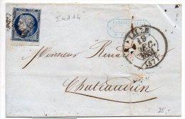 25c CERES (Petit BdF Inférieur) Oblitéré Grille Sur Lettre De Lille Du 19 Décembre 1851 Avec Cachet Type 13 - Marcophilie (Lettres)
