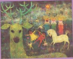 Voeux °° Noël - Rois Mages Cheval Blanc Et Cerf - Verso Uni écrit - 10x12 - Other