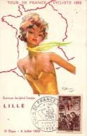 59 - LILLE -  Tour De France Cycliste 1956 Illustré Par Gabriel Domergue 2è Etape - 6 Juillet 1956 - Lille