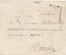 608/23 - Enveloppe Précurseur Griffe BINCH ( Non Datée - Herlant 1788/1794 ) Vers MONS - 1714-1794 (Austrian Netherlands)