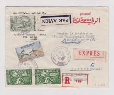 Afrika TUNESIEN 1963-03-11 TUNIS Exprès Flugpost R- Brief Nach Zürich - Tunisie (1956-...)