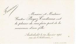 Faire-part De Naissance De Francine, Chez Gaston Payez-Castiaux, Anderlecht, 27/1/1935 - Naissance & Baptême