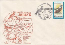 BIRDS, EAGLES, LAPWING, EGRET, BUSTARD, STORK, SPECIAL COVER, 1992, ROMANIA - Aigles & Rapaces Diurnes