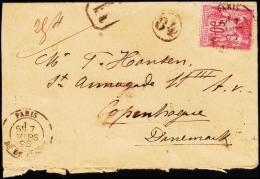 1898. 50 C. PARIS 7 MARS 98 To Copenhague, Danemark KJØBENHAVN 2. OMB -9.3.98.  (Michel: 81 II) - JF182312 - 1876-1898 Sage (Type II)