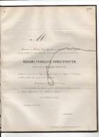 VANDERPOORTEN Françoise Veuve HOORICKX +3/5/1861 Bruxelles DHANIS - Faire-part