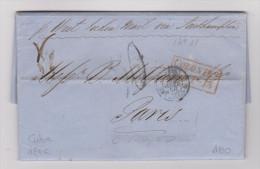 KUBA 1856-01-08 HABANA Vorphila Brief Nach Paris - Cuba