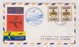 ECUADOR Anschlusspost Zum Lufthansa Erstflug über Siberienroute Tokyo Nach Frankfurt 1973-08-08 Attest Grabowski - Equateur