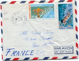 POLYNESIE LETTRE PAR AVION DEPART PAPEETE 21-8-1971 ILE TAHITI POUR LA FRANCE - Polynésie Française