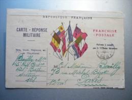 Carte Réponse Militaire / Franchise Postalesecteur 168 10/09/1916 - Militaria