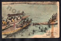 Dakar Senegal Piroguiers Vintage Original Ca1900 Postcard Cpa Ak (W4_1940) - Sénégal