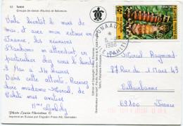 POLYNESIE CARTE POSTALE DEPART PUNAAUIA 6-4-1988 ILE TAHITI POUR LA FRANCE - Storia Postale