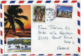 POLYNESIE LETTRE PAR AVION DEPART PIRAE 29-11-1994 ILE-DE-TAHITI POUR LA FRANCE - Polynésie Française