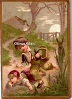 """Chromo : """" Enfant Se Sauvant Devant Un Animal (loup ?)..."""" -  Scans Recto-verso - Autres"""