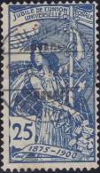 Heimat NE COLOMBIER 1900-11-00 Voll-Stempel Auf 25Rp Blau UPU Zu#79B - 1882-1906 Armoiries, Helvetia Debout & UPU