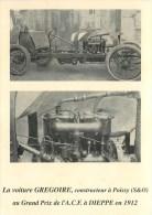 Réedition Par L'Amicale Auto Grégoire, Constructeur à Poissy 78- Chassis Et Moteur .Grand Prix ACF Dieppe 76 En 1912 - Poissy