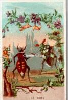 """Chromo : """" LE DUEL : Insectes, Scarabées, épée..."""" -  Scans Recto-verso - Chromos"""