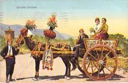 VOITURE / ATTELAGE DE CHEVAUX : Carretto Siciliano - CPA 1933 ( Horse Hitch Pferd Anhängevorrichtung Paard Cavallo ) - Horses