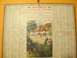 Almanach Des Postes Et Des Télégraphes./Ferme Dans Le Morbihan / Oberthur / Rennes./1941    CAL248 - Calendriers
