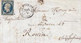 N 10    25C BLEU SUR LETTRE - 1852 Louis-Napoleon